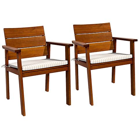 Set of 2 Seaview Eucalyptus Easy Carver Patio Chairs