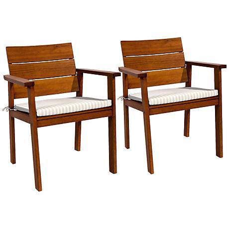 Set of 2 Amazonia Nelson Eucalyptus Easy Carver Patio Chairs