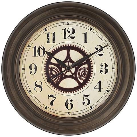 "Ackerson 24 1/2"" Round Metal Wall Clock With Gears"