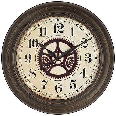 """Ackerson 24 1/2"""" Round Metal Wall Clock With Gears"""