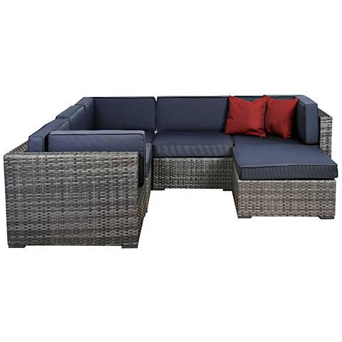 6-Piece Genoa Gray Wicker Patio Seating Set