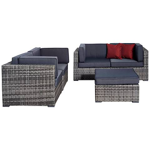 5-Piece Aquitaine Gray Wicker Patio Seating Set