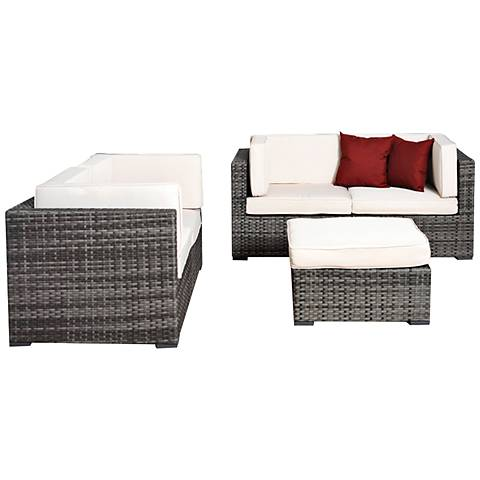 Aquitaine White and Gray Wicker Loveseat Patio Seating Set