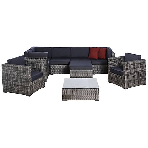 Atlantic 9-Piece Southampton Gray Wicker Patio Set