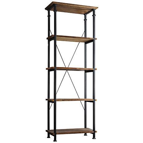 HomeBelle Wagner Natural Pine 5-Shelf Bookshelf
