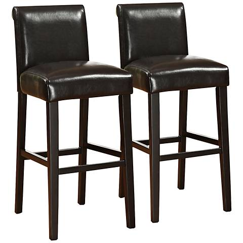 "HomeBelle Haven 29"" Set of 2 Black Faux Leather Bar Stools"