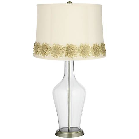 Clear Fillable Anya Table Lamp with Flower Applique Trim