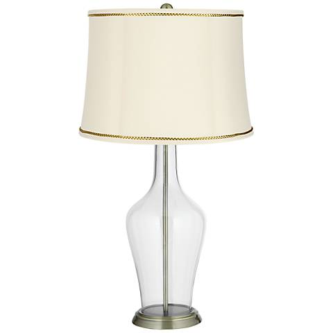 Clear Fillable Anya Table Lamp with President's Braid Trim