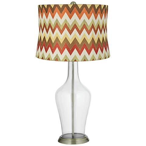 Red and Brown Chevron Shade Clear Fillable Anya Table Lamp