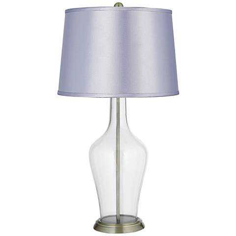 Satin Periwinkle Shade Clear Fillable Anya Table Lamp
