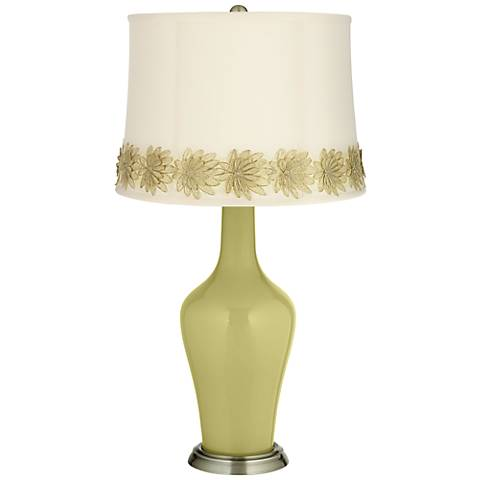 Linden Green Anya Table Lamp with Flower Applique Trim
