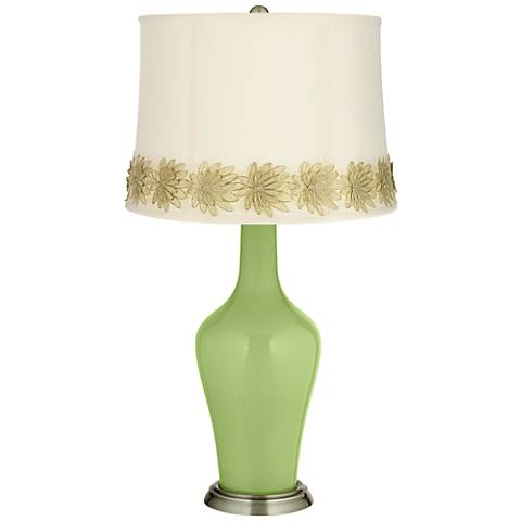 Lime Rickey Anya Table Lamp with Flower Applique Trim