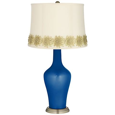 Ocean Metallic Anya Table Lamp with Flower Applique Trim