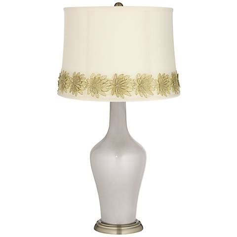 Silver Lining Metallic Anya Table Lamp with Flower Applique Trim