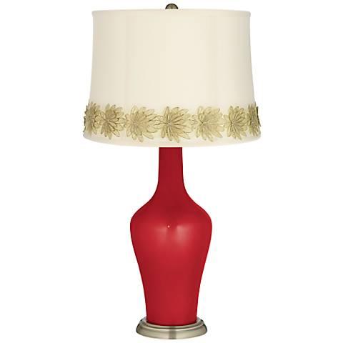 Sangria Metallic Anya Table Lamp with Flower Applique Trim