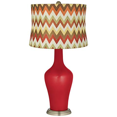 Sangria Metallic Red and Brown Chevron Shade Anya Table Lamp