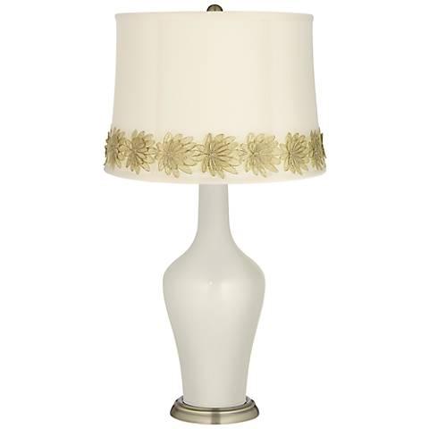 Vanilla Metallic Anya Table Lamp with Flower Applique Trim