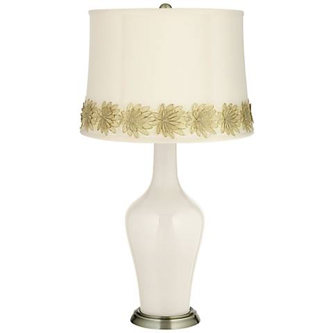 West Highland White Anya Table Lamp with Flower Applique Trim