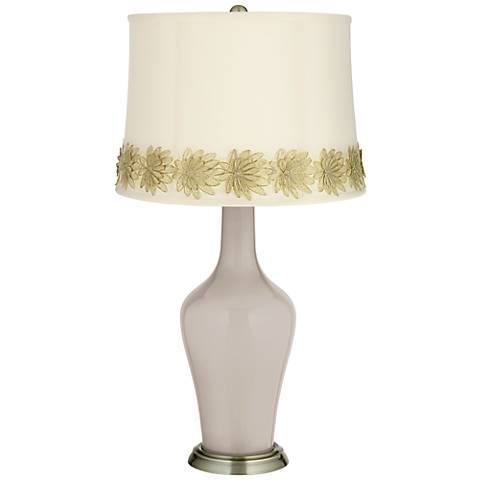 Pediment Anya Table Lamp with Flower Applique Trim