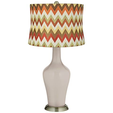 Pediment Red and Brown Chevron Shade Anya Table Lamp