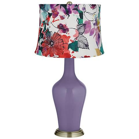 Purple Haze Multi-Color Flowers Anya Table Lamp