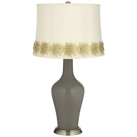 Gauntlet Gray Anya Table Lamp with Flower Applique Trim