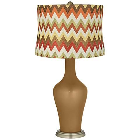 Light Bronze Metallic Red and Brown Chevron Shade Anya Lamp