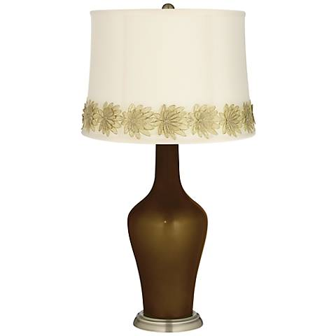 Bronze Metallic Anya Table Lamp with Flower Applique Trim