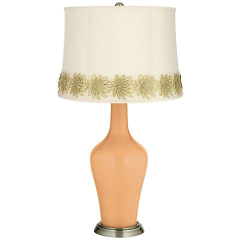 Soft Apricot Anya Table Lamp with Flower Applique Trim