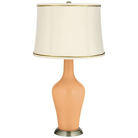 Soft Apricot Anya Table Lamp with President's Braid Trim