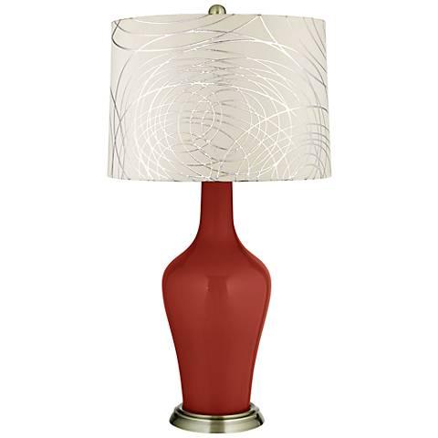 Madeira Abstract Silver Circles Shade Anya Table Lamp