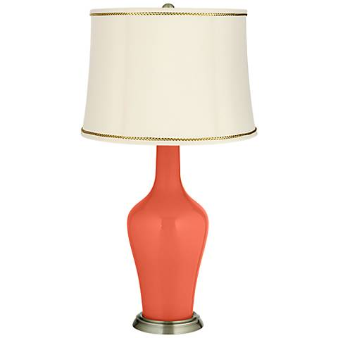 Daring Orange Anya Table Lamp with President's Braid Trim