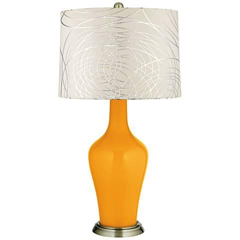 Carnival Abstract Silver Circles Shade Anya Table Lamp