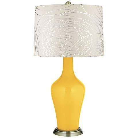 Goldenrod Abstract Silver Circles Shade Anya Table Lamp