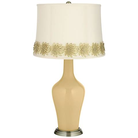Humble Gold Anya Table Lamp with Flower Applique Trim