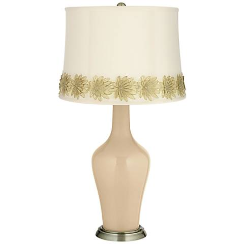 Colonial Tan Anya Table Lamp with Flower Applique Trim