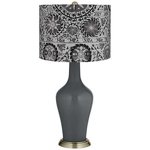 Black of Night Gray Suzani Anya Table Lamp