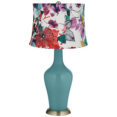 Reflecting Pool Multi-Color Flowers Anya Table Lamp