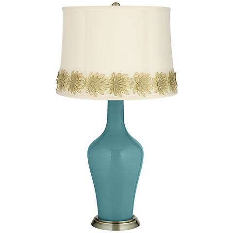 Reflecting Pool Anya Table Lamp with Flower Applique Trim