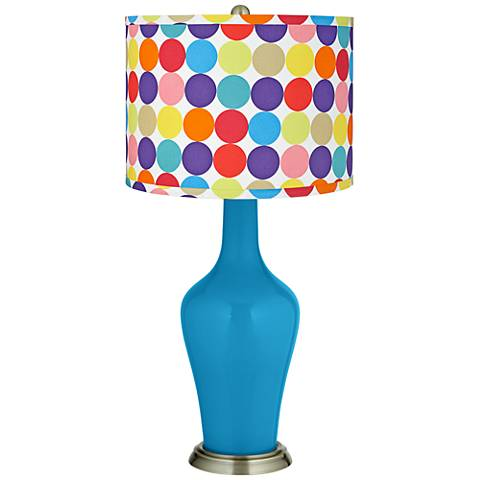 River Blue Multi-Color Circles Shade Anya Table Lamp