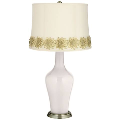 Smart White Anya Table Lamp with Flower Applique Trim