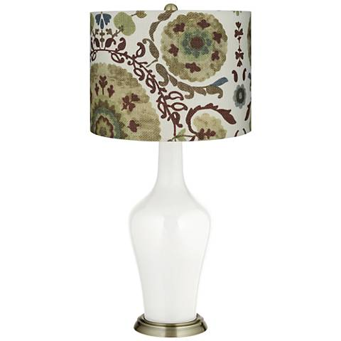 Winter White Green Floral Paisley Anya Table Lamp