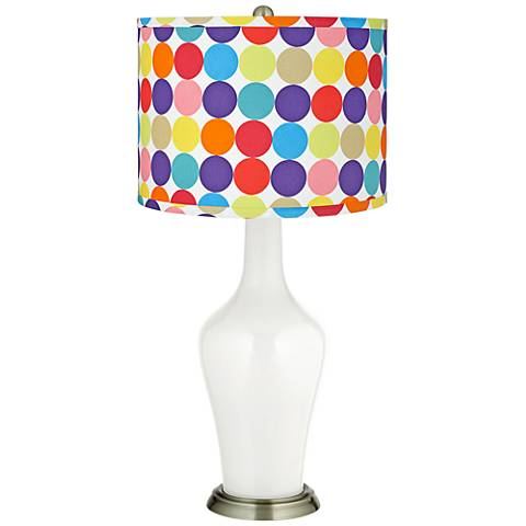 Winter White Multi-Color Circles Shade Anya Table Lamp