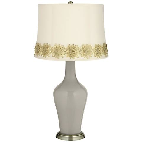 Requisite Gray Anya Table Lamp with Flower Applique Trim