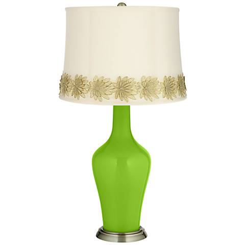 Neon Green Anya Table Lamp with Flower Applique Trim