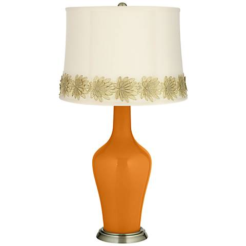 Cinnamon Spice Anya Table Lamp with Flower Applique Trim