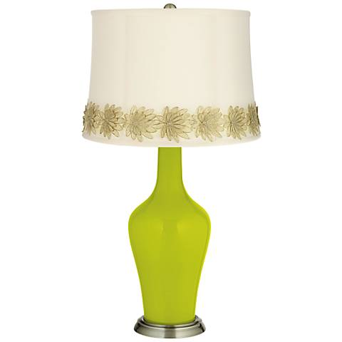 Pastel Green Anya Table Lamp with Flower Applique Trim