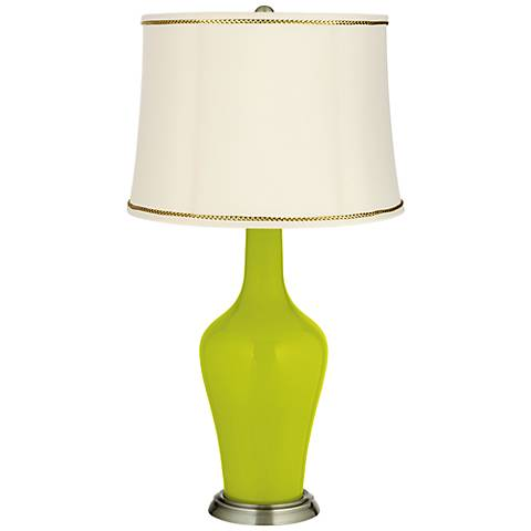 Pastel Green Anya Table Lamp with President's Braid Trim