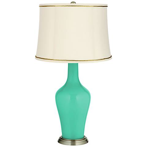 Turquoise Anya Table Lamp with President's Braid Trim