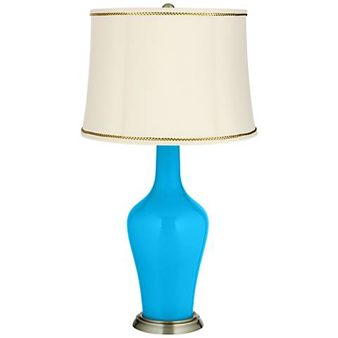 Sky Blue Anya Table Lamp with President's Braid Trim